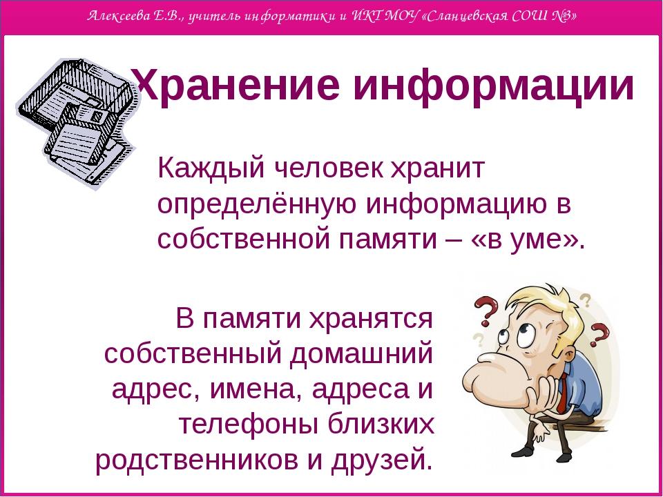 Хранение информации Каждый человек хранит определённую информацию в собствен...