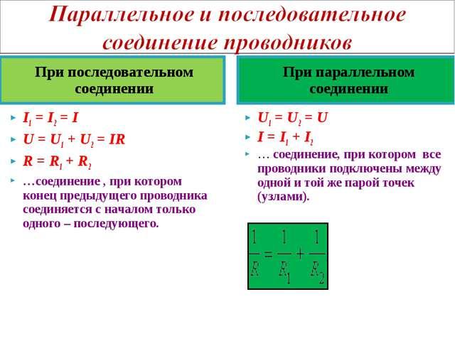 При последовательном соединении При параллельном соединении I1=I2=I U=U...