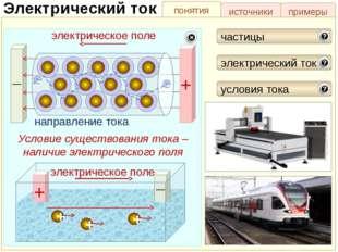 понятия источники примеры Электрический ток Работа электрического тока частиц