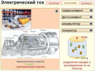 понятия источники примеры Электрический ток (+)полюс (-)полюс Луиджи Гальвани