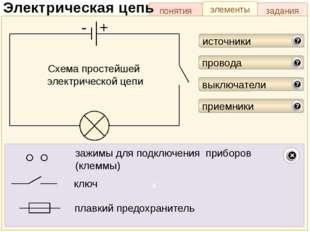 задания элементы понятия Электрическая цепь Схема простейшей электрической це