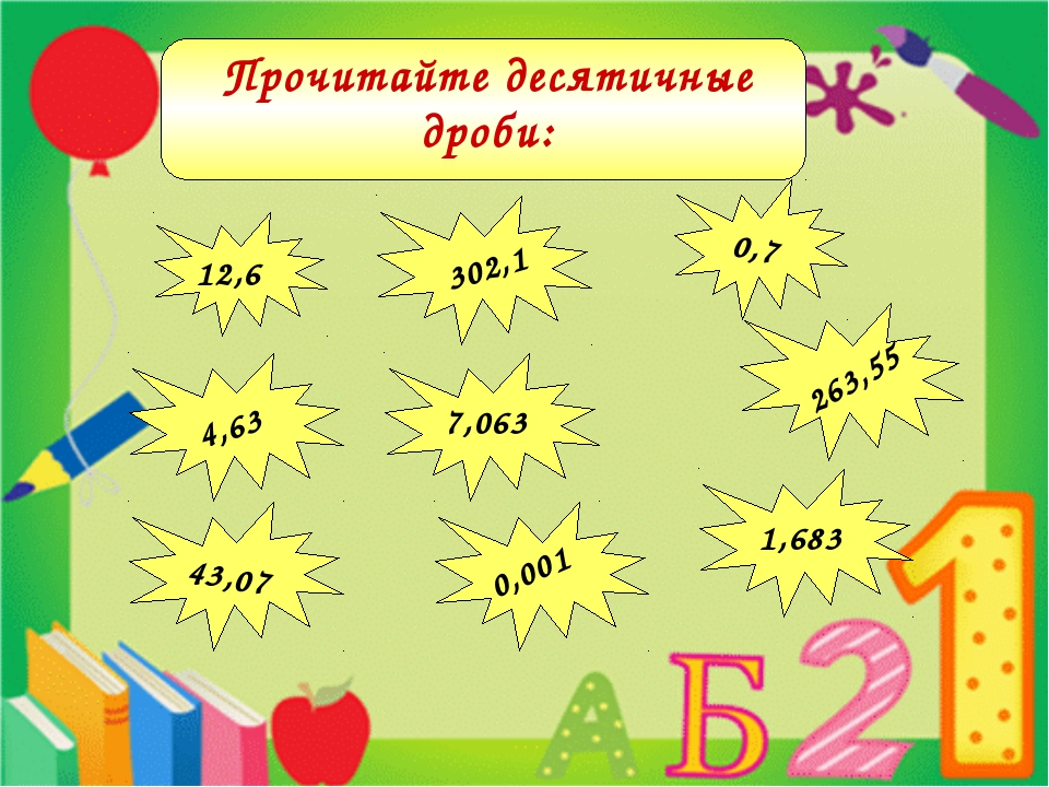 12,6 302,1 0,7 4,63 43,07 263,55 1,683 7,063 0,001 Прочитайте десятичные дроби: