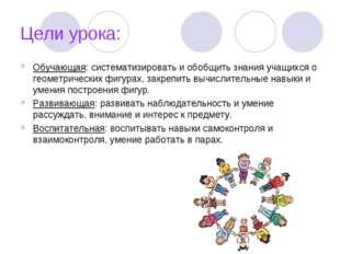 Цели урока: Обучающая: систематизировать и обобщить знания учащихся о геометр