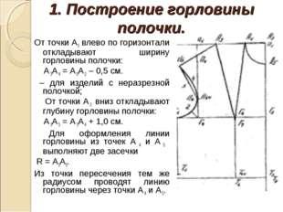 1. Построение горловины полочки. От точки А3 влево по горизонтали откладывают
