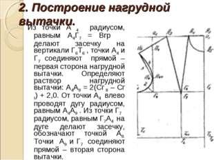 2. Построение нагрудной вытачки. Из точки А 4 радиусом, равным А4Г7 = Вгр дел