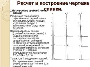 Расчет и построение чертежа спинки. 1.Построение средней линии спинки. Различ