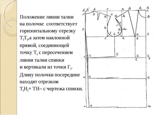 Положение линии талии на полочке соответствует горизонтальному отрезку Т6Т8,а...