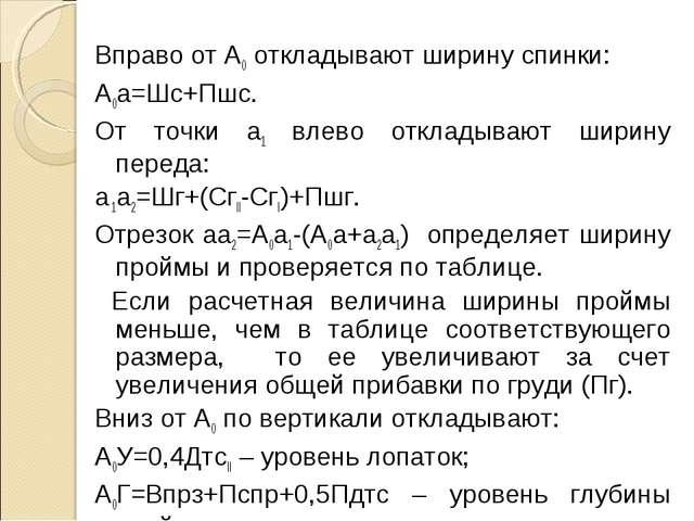 Вправо от А0 откладывают ширину спинки: А0a=Шс+Пшс. От точки a1 влево отклады...
