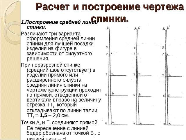 Расчет и построение чертежа спинки. 1.Построение средней линии спинки. Различ...