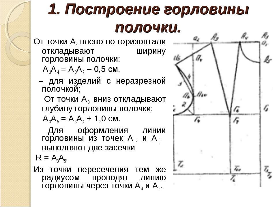 1. Построение горловины полочки. От точки А3 влево по горизонтали откладывают...