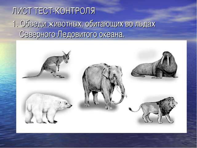 ЛИСТ ТЕСТ-КОНТРОЛЯ 1.Обведи животных, обитающих во льдах Северного Ледовитог...