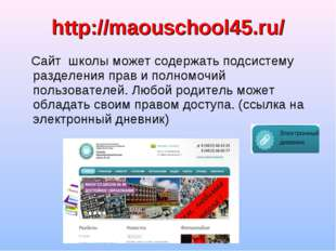 Сайт школы может содержать подсистему разделения прав и полномочий пользоват