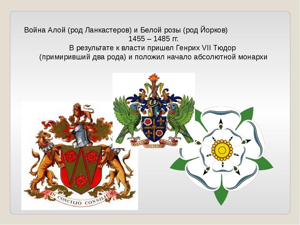 Война Алой (род Ланкастеров) и Белой розы (род Йорков) 1455 – 1485 гг. В резу...