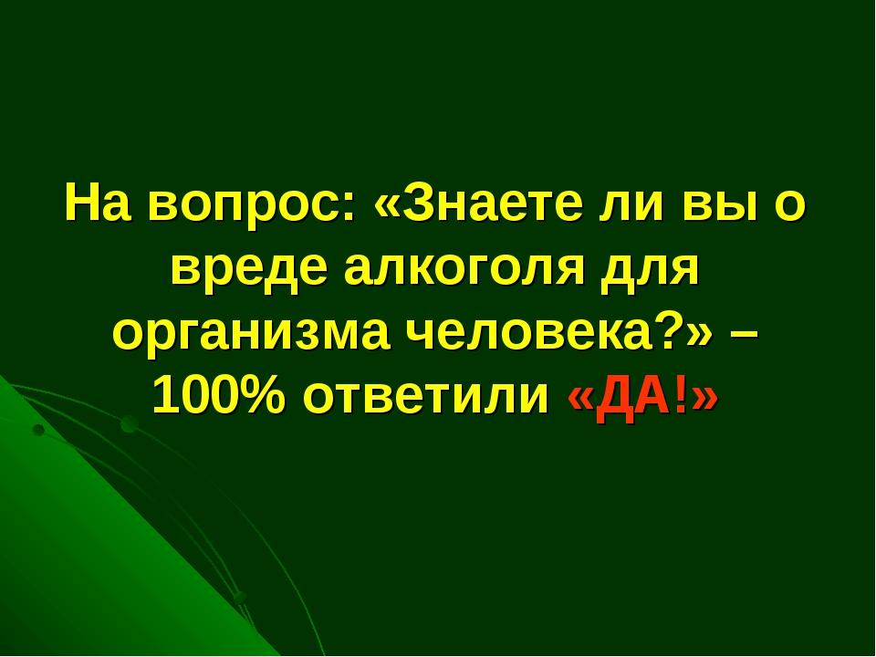 На вопрос: «Знаете ли вы о вреде алкоголя для организма человека?» – 100% отв...