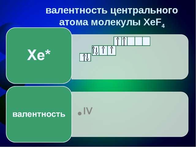 валентность центрального атома молекулы XeF4