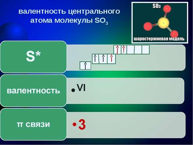 валентность центрального атома молекулы SO3