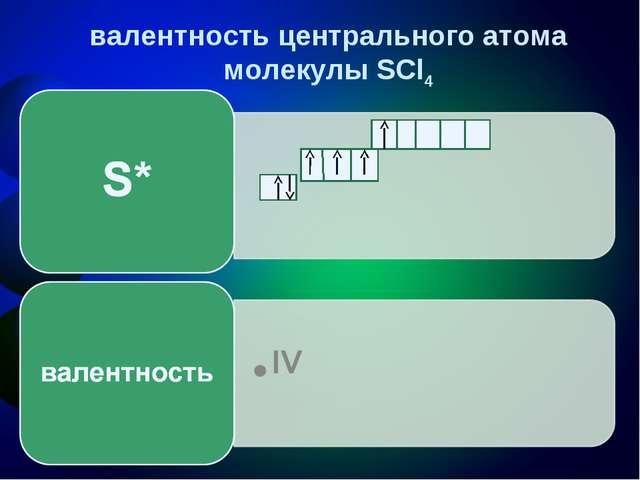 валентность центрального атома молекулы SCl4