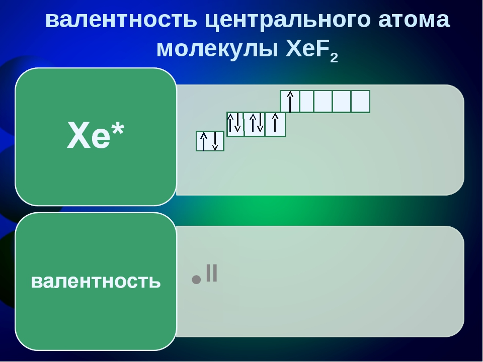 валентность центрального атома молекулы XeF2