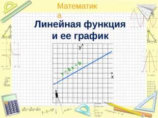 Линейная функция и ее график y = k x + b Математика