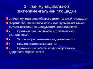 2.План муниципальной экспериментальной площадки 2.План муниципальной экспери