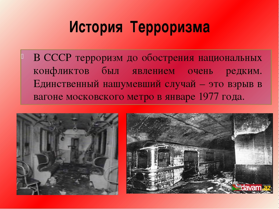 История Терроризма В СССР терроризм до обострения национальных конфликтов был...