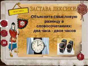 ЛЕКСИКА 30 Объясните смысловую разницу в словосочетаниях: два часа - двое ча