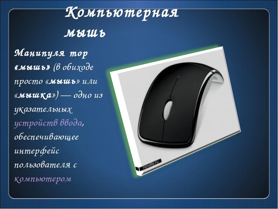 Компьютерная мышь Манипуля́тор «мышь» (в обиходе просто «мышь» или «мышка»)—...
