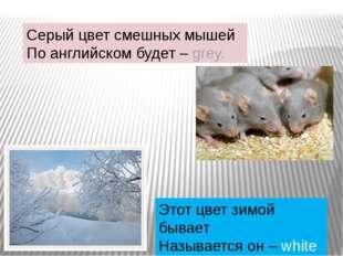 Серый цвет смешных мышей По английском будет –grey. Этот цвет зимой бывает Н