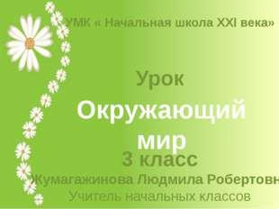 Окружающий мир Урок 3 класс Жумагажинова Людмила Робертовна Учитель начальных