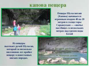 капова пещера Из пещеры вытекает ручей Шульган, который за несколько миллионо