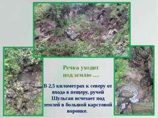 Речка уходит под землю … В 2,5 километрах к северу от входа в пещеру, ручей Ш
