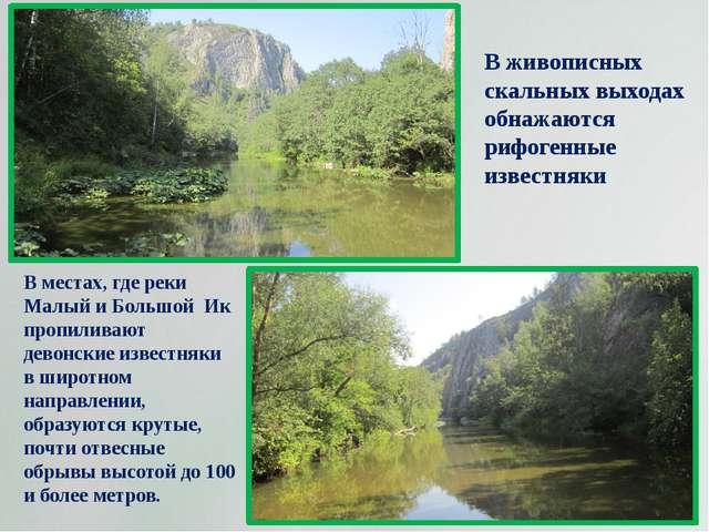 В местах, где реки Малый и Большой Ик пропиливают девонские известняки в широ...