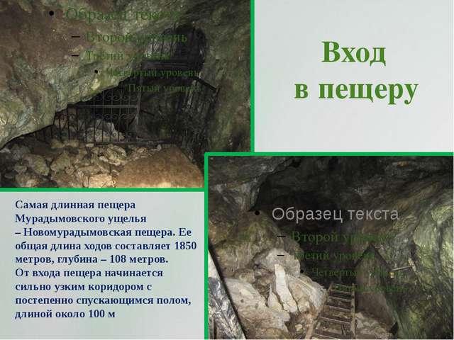 Вход в пещеру Самая длинная пещера Мурадымовского ущелья –Новомурадымовская...