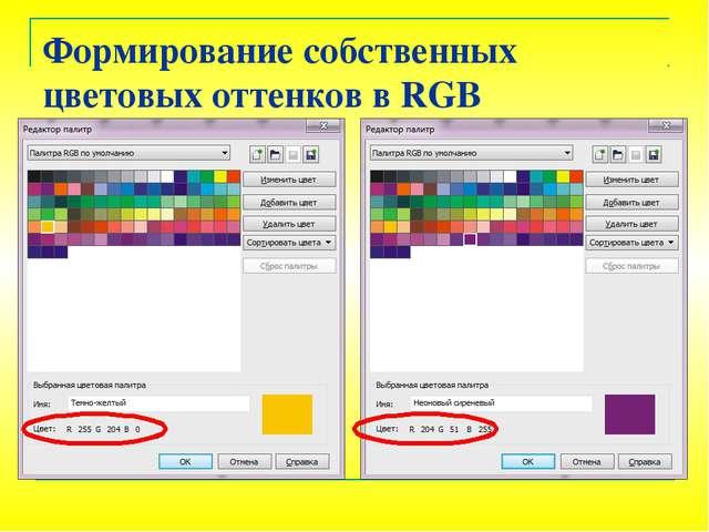 Формирование собственных цветовых оттенков в RGB