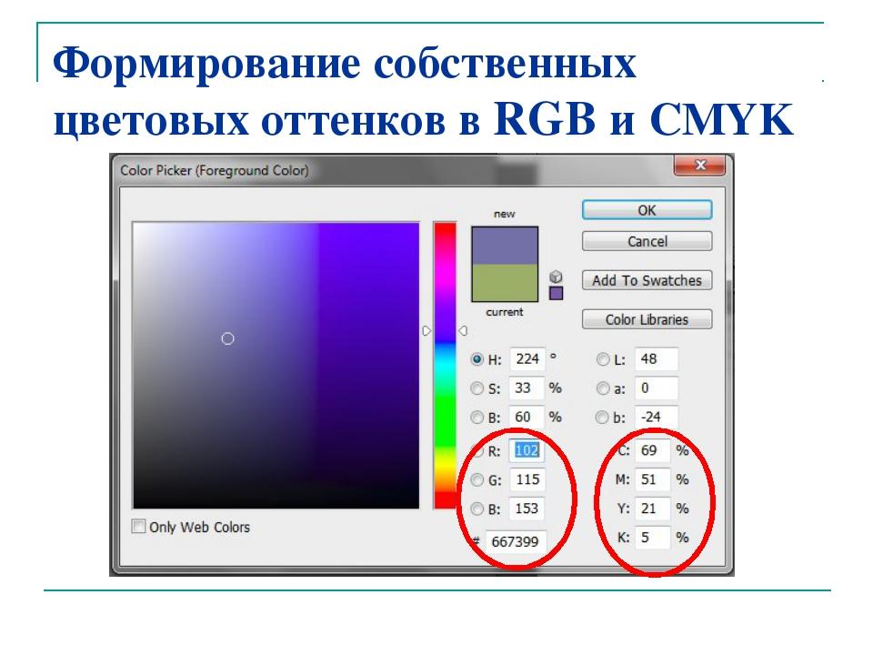 Формирование собственных цветовых оттенков в RGB и CMYK