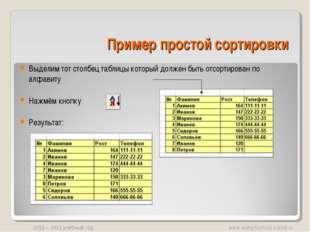 Пример простой сортировки Выделим тот столбец таблицы который должен быть отс