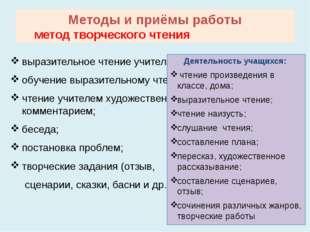 Методы и приёмы работы метод творческого чтения выразительное чтение учителя;
