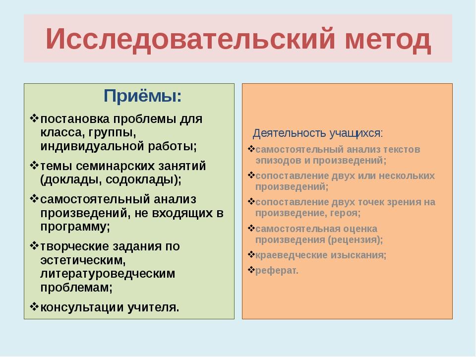 Исследовательский метод Приёмы: постановка проблемы для класса, группы, индив...