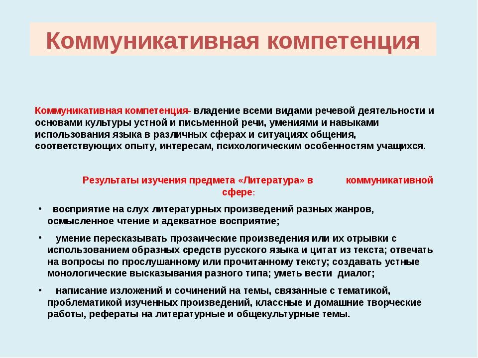 Коммуникативная компетенция Коммуникативная компетенция- владение всеми видам...