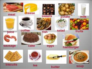 meat cheese sweets potato milk juice coffee fish salad fruits sausage cake eg