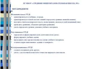 ЛГ МБОУ «СРЕДНЯЯ ОБЩЕОБРАЗОВАТЕЛЬНАЯ ШКОЛА №1» Познавательные УУД: ориентиров
