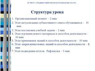 ЛГ МБОУ «СРЕДНЯЯ ОБЩЕОБРАЗОВАТЕЛЬНАЯ ШКОЛА №1» 1. Организационный момент – 2