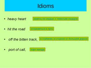Idioms heavy heart hit the road off the bitten track, port of call, камень на