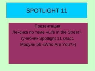 SPOTLIGHT 11 Презентация Лексика по теме «Life in the Street» (учебник Spotli
