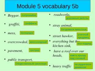 Module 5 vocabulary 5b Beggar, graffiti, mess, overcrowded, pavement, public