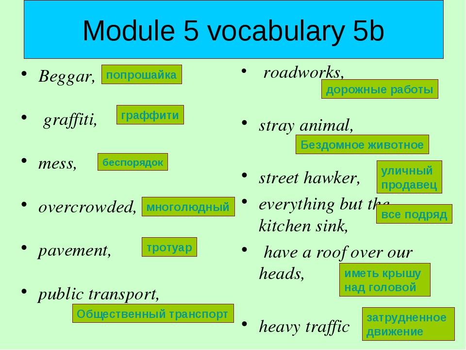 Module 5 vocabulary 5b Beggar, graffiti, mess, overcrowded, pavement, public...