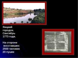 Яицкий городок. Сентябрь 1773 года. На стороне восставших: 2500 человек 20 п