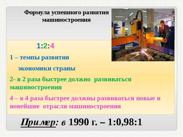 Формула успешного развития машиностроения 1:2:4 1 – темпы развития экономики...