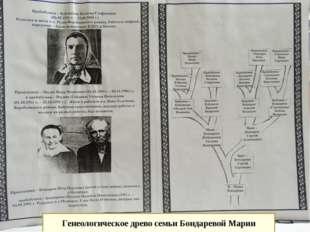 Генеологическое древо семьи Бондаревой Марии