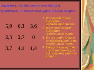 Задание 1. Узнайте длину тела бобра (в дециметрах). Поможет вам удивительный